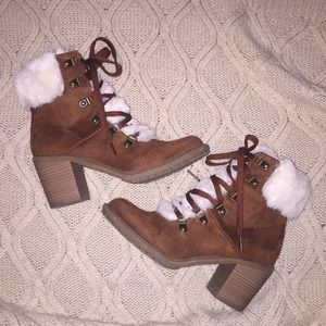 ❄️ Cognac Boots with Fur - A New Day ❄️